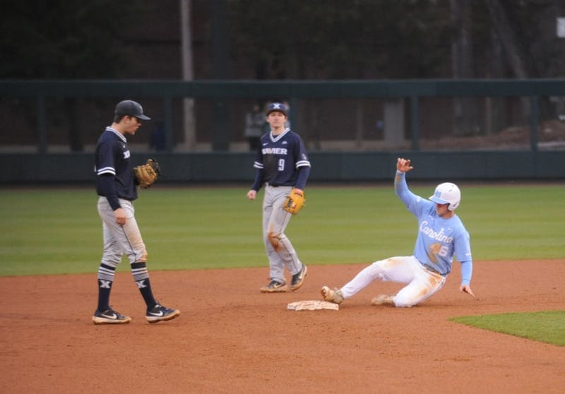 Ben Casparius (46) slides into second base during the game versus Xavier in Boshamer Stadium on Sunday, Feb. 17, 2019. UNC won 14-3.