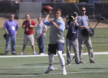 Former North Carolina quarterback Mitchell Trubisky throws a pass during UNC Pro Day.