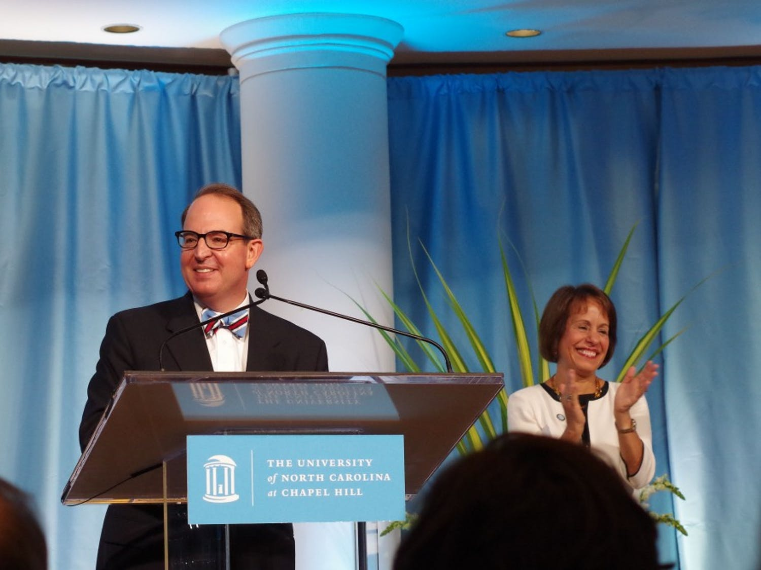 Martin Brinkley took the stage as the 14th dean of the UNC School of Law on Friday at the Law School Rotunda.