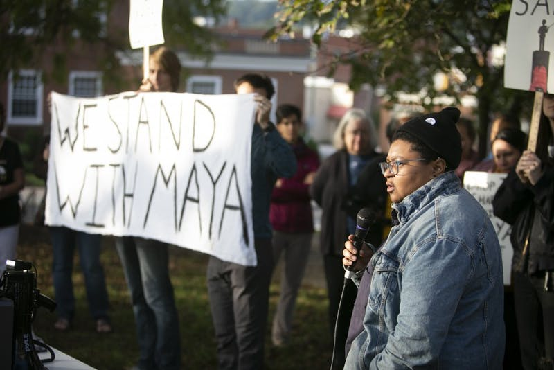 Maya Little thanks everyone who has supported her before her court hearing on Monday, Oct. 15, 2018, in Hillsborough, N.C.