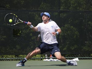 Senior Ronnie Schneider returns a volley in his singles match in the 2016 ACCsemi-finals.The UNC men's tennis team lost 4-3 to the University of Virginia in the AC semi-finals on Saturday,April 23rd.
