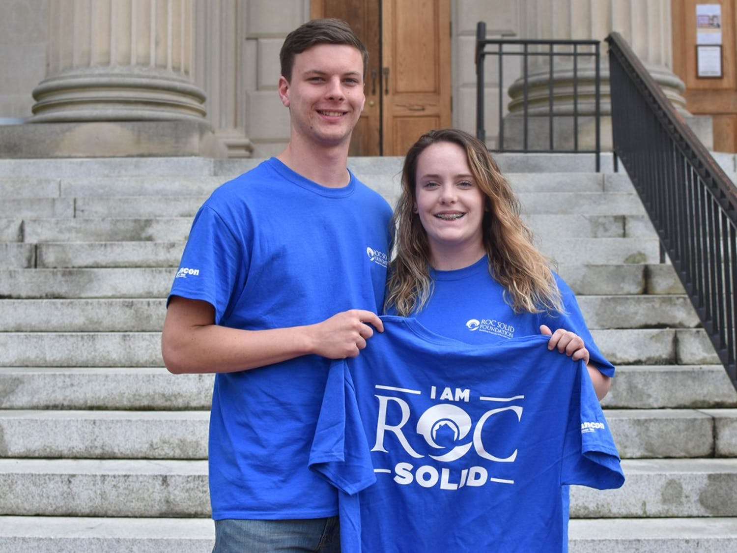 "Justin Kiser (left) is a first year pre-business and economics double major and Keery Doyle is a first year exercise science and biology double major. Kiser is the treasurer and Doyle is the President of the club ""Roc Solid Carolina."""