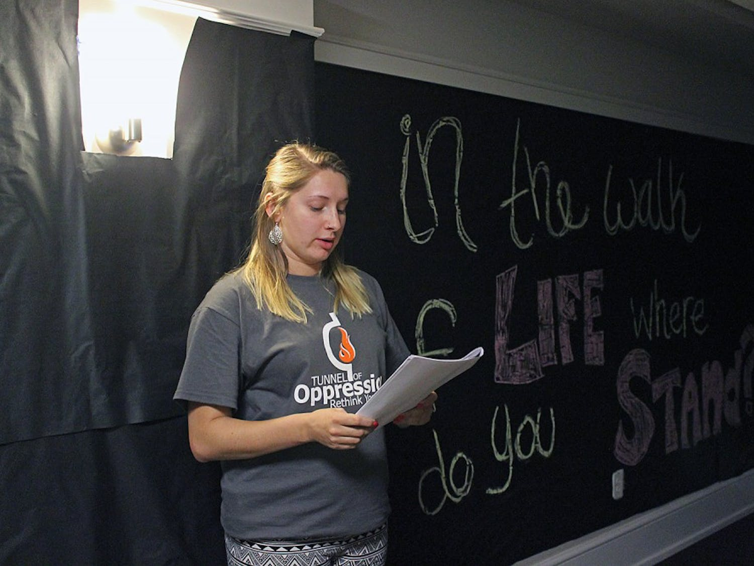 Alix Desch is the Operations Manager of the 2014 Tunnel of Oppression. The Tunnel of Oppression is a tour that engages participants in a number of first hand forms of oppression through interactive acting, viewing monologues and forms of multimedia. The tours began on Monday, March 31 and will continue until Wednesday, April 2 in Cobb Residence Hall.