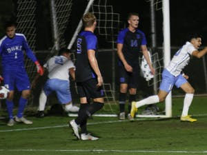Sophomore forward Giovanni Montesdeoca (10) runs out of goal after scoring the first shot against Duke during the semifinals of the ACC Championship. UNC men's soccer beat Duke, 2-1.