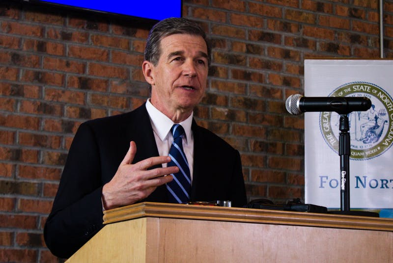 Gov. Roy Cooper visited Chapel Hill on Tuesday, Nov. 19 2019 to announce that Well Dot, Inc, a health technology company will base its new operations center in the town and create 400 jobs.