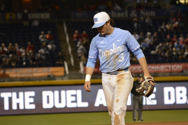 North Carolina third baseman Kyle Datres (3) lowers his head in frustration during a loss to N.C. State on April 16 in Durham.