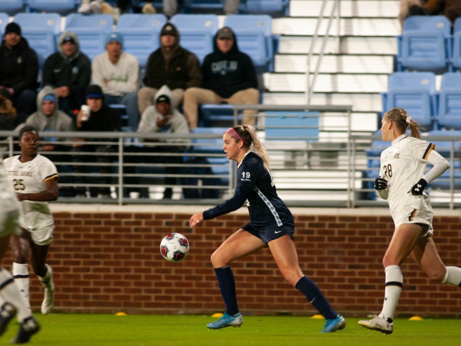 UNC junior forward Alessia Russo (19) dribbles the ball downfield during the Tar Heels' 3-0 victory over Notre Dame at Dorrance Field on Sunday, Nov. 3, 2019.