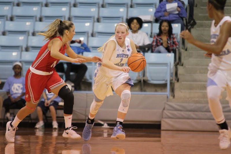 Guard Taylor Koenen (1) drives down the court against Radford on Thursday night in Carmichael Arena.