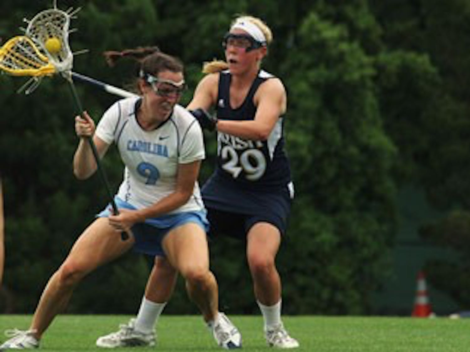 """After beating Maryland"""" 8-7 on Friday night UNC had scored just three goals at the half against NU. Jenn Russell chipped in two in the game."""