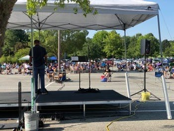 Chapel Hill Bible Church hosts an outdoor service on Sunday, Aug. 30, 2020. Due to the COVID-19 pandemic, churches have adapted to other forms of congregation, such as outdoor services and Zoom meetings. Photo courtesy of Chapel Hill Bible Church.