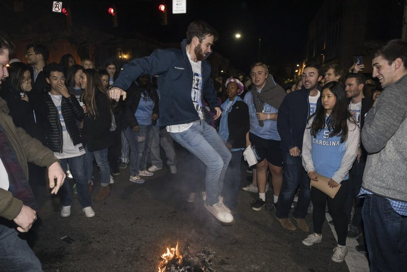Thousands of fans flooded Franklin Street after the North Carolina men's basketball team defeated Duke Saturday night.