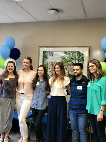 Invest in Nursing is a partnership between the School of Nursing and a community-based primary care team. From left to right: Anne Marie Stonehouse, Kasey Gamble, Sarah Hunt, Erica Johnson, Ismael Urbina, Suzie Crothers. Photo courtesy of Megan Williams.