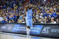 P.J. Hairston (15) reacts after being takes out of the game late in the second half.