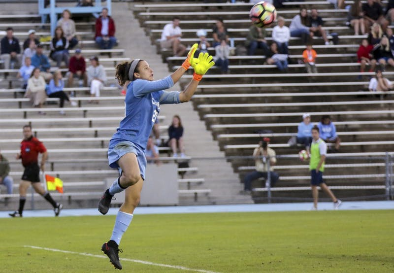 UNC goalkeeper Lindsey Harris (23) makes a save against Wake Forest on Oct. 9.