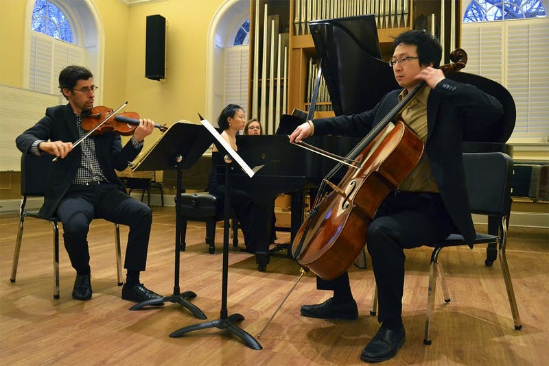 Dovid Friedlander (violin), Clara Yang (piano), and Peng Li (cello), perform at the Faculty Recital Monday evening in Person Hall.  UNC pianist, Yang, along with North Carolina Symphony musicians, Friedlander and Li, performed works by Bach, Beethoven, and Brahms.