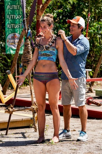 Alison Raybould and Jeff Probst on the seventh episode of SURVIVOR: David vs. Goliath, Photo: Robert Voets/CBS Entertainment  2018 CBS Broadcasting, Inc. All Rights Reserved.