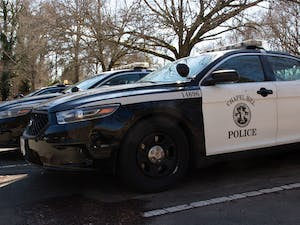 Chapel HIll Police vehicles standby at the Chapel Hill Police Department on Tuesday, Jan. 28, 2020. The Chapel Hill Police Department has increased their patrols in and around UNC's Campus in response to the sexual assault in the Shortbread Lofts parking deck.