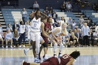 UNC Guard Shayla Bennett (0) reacts after a foul against FSU in Carmichael Arena on Sunday, Jan. 6, 2019. UNC lost 63-64.