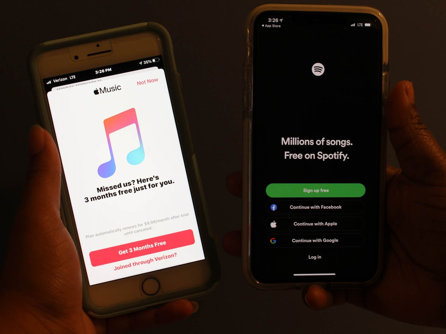 DTH Photo Illustration. There has been a long standing debate of which music streaming platform is the best: Spotify or Apple Music. Students tell us the pros and cons of each service and which they like best.