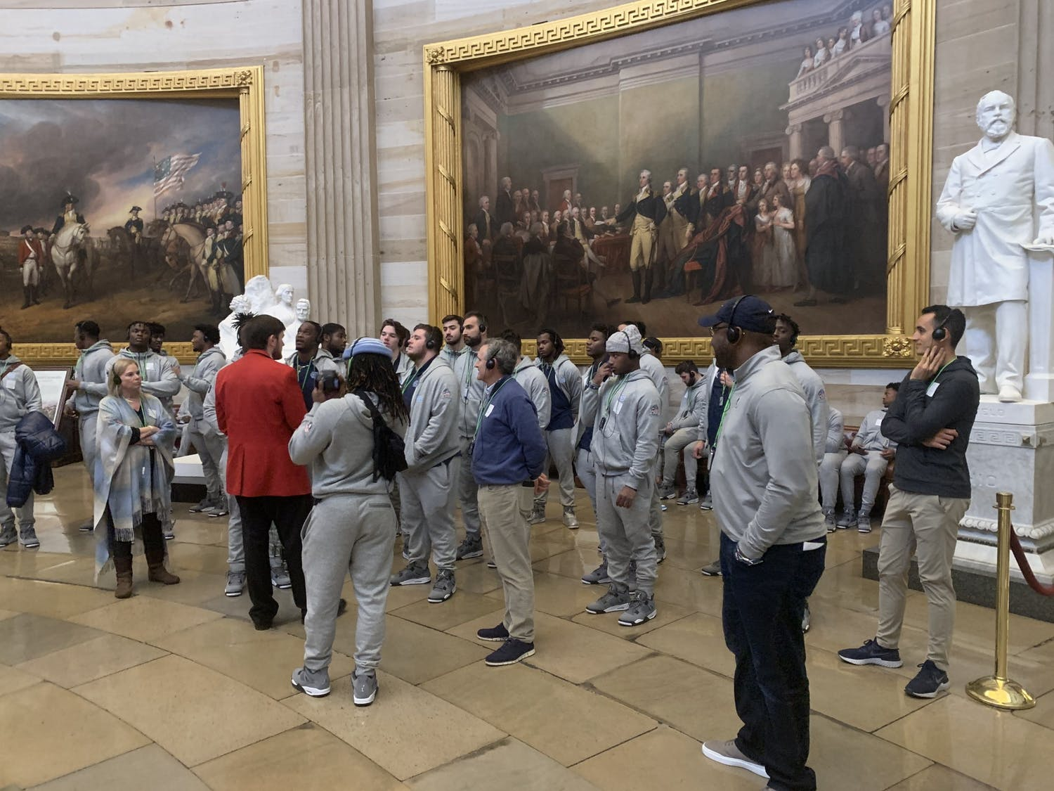 Members of the UNC football team in the Rotunda of the United States Capitol