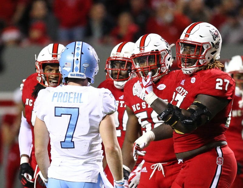 The North Carolina football team lost its season finale to rival N.C. State, 33-21, at Carter-Finley Stadium in Raleigh. UNC ended the season at 3-9, its worst record since 2006. In the loss, wide receiver Anthony Ratliff-Williams had a career-high 131 receiving yards and quarterback Nathan Elliott threw three touchdowns and two interceptions.