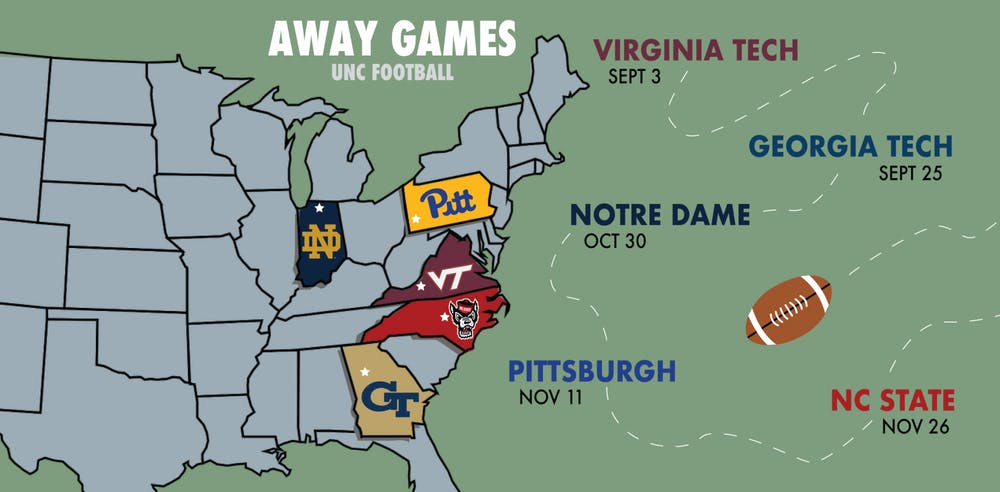<p>UNC's road game schedule will see the team travel to Virginia, Georgia, Indiana, Pennsylvania and nearby Raleigh, N.C.</p>