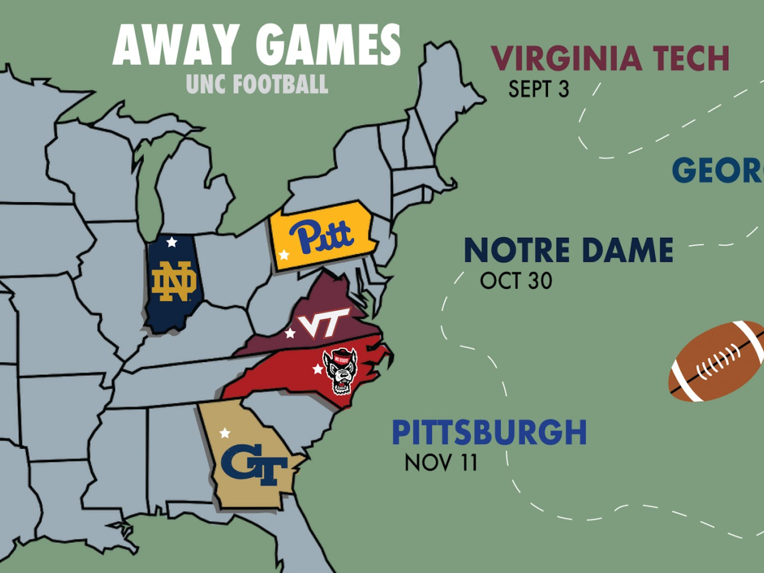 UNC's road game schedule will see the team travel to Virginia, Georgia, Indiana, Pennsylvania and nearby Raleigh, N.C.