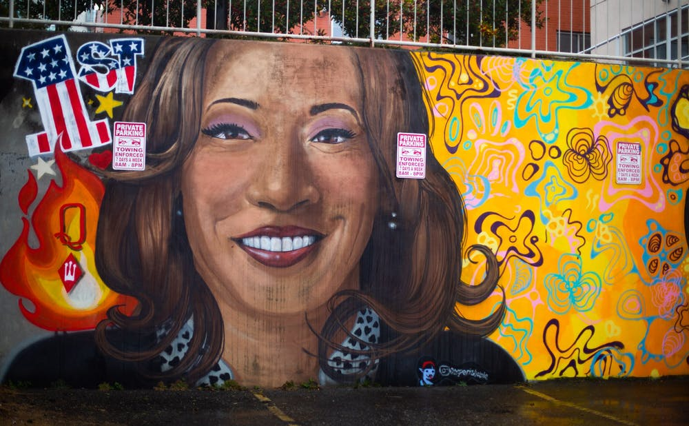 <p>A mural of Vice President Kamala Harris in a parking lot near Franklin Street in Chapel Hill on Feb. 11, 2021</p>