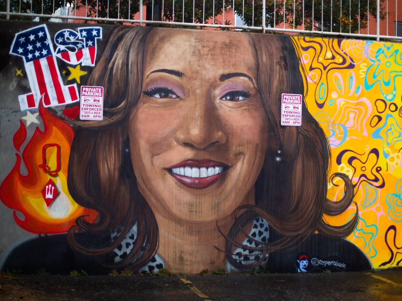 A mural of Vice President Kamala Harris in a parking lot near Franklin Street in Chapel Hill on Feb. 11, 2021