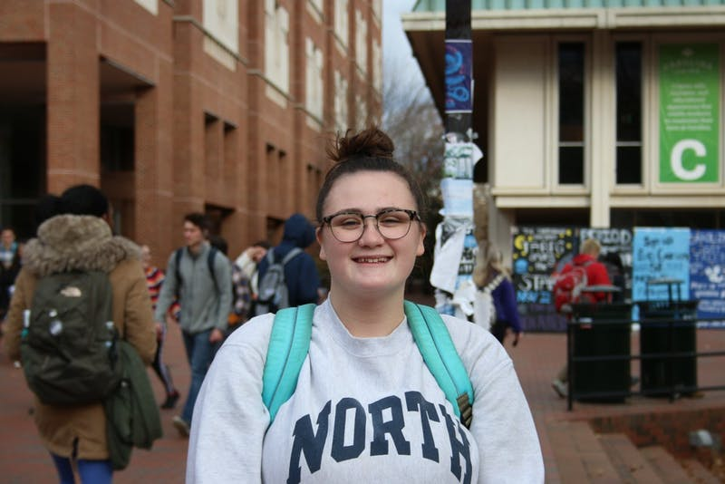 Mikayla Gossa, a junior media and journalism student, is one of the more than 1-in-10 UNC undergraduate students the Carolina Covenant serves ever since it's launch in 2004. Goss said she would not have been able to attend UNC if it were not for the program. She is pictured here on UNC's campus on Dec. 2, 2019.