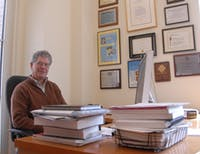UNC Goldby Distinguished Professor of Chemistry J. Michael Ramsey works in his office in Chapman Hall on Tuesday morning. Ramsey has been elected to the National Academy of Engineering, one of the highest professional distinctions awarded to a scientist or engineer.
