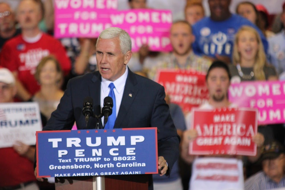 Pence focuses on economic and military strength in Greensboro campaign stop