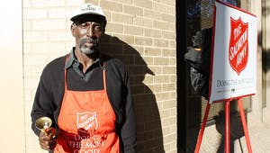 Nathan Yarborough, a Salvation Army volunteer, rings the bell in his main spot on Franklin Street in front of Wells Fargo. This is Yarborough's first year volunteering for the organization.