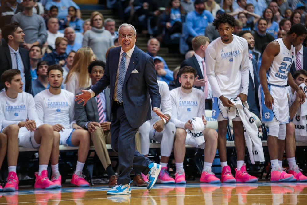 """<p>Roy Williams participated in """"Suits and Sneakers week"""" by wearing a special suit, tie and sneakers to the Virginia Tech game raise cancer awareness.</p>"""