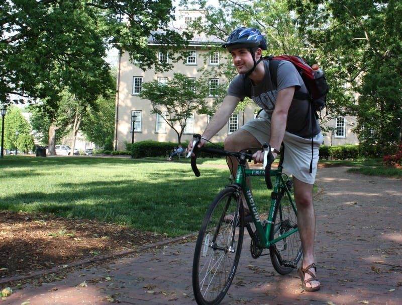 Joey Parker, a junior in the School of Public Health, is participating in Bike and Build, during which cyclists build homes across the country.