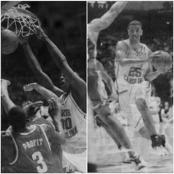 Former UNC basketball players Brendan Haywood (left) and Jason Capel in 1999 file photos. DTH/Sean Busher.
