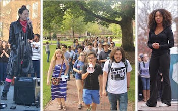Sophomore communications and history major Mitch Xia (left photo), junior nursing major Charity Lackey (right photo) and many other students participate in protests on and off campus.