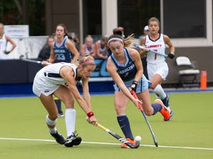 UNC's sophomore forward Erin Matson (1) fights for the ball against Liberty's junior defender Ashley Dykema (14) on Oct. 20th, 2019 in Karen Shelton Stadium. The Tar Heels won 3-2 agains the Liberty Flames.