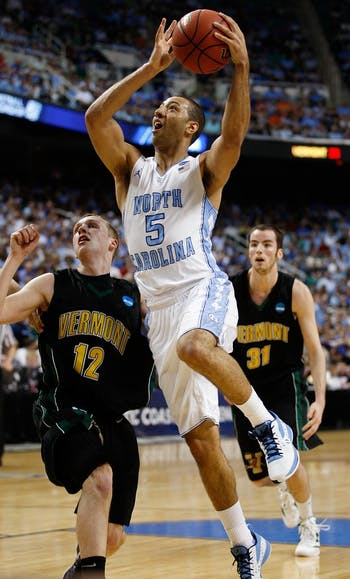 UNC guard Kendall Marshall drives to the basket. The Tar Heels defeated Vermont 77-58 in the second round of the NCAA tournament at the Greensboro Coliseum on Friday, March 16, 2012.