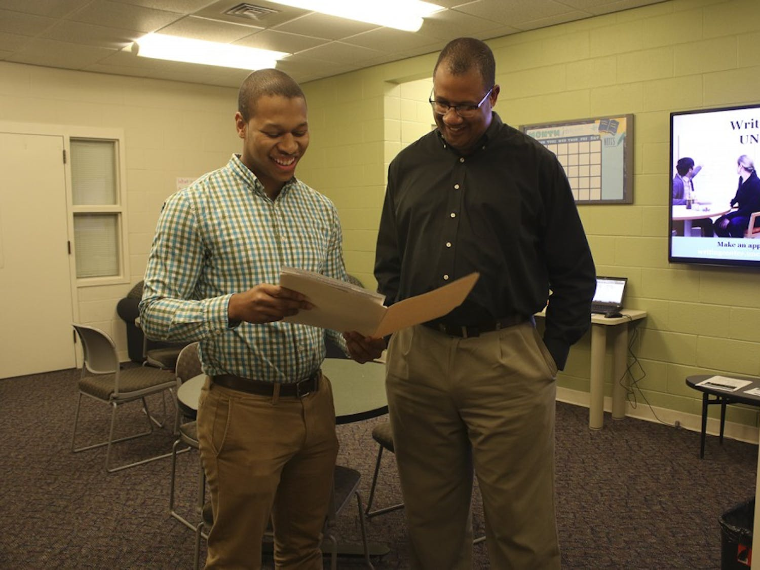 (Left)Fred Cave and Christopher Faison are among those that work with students who take semesters off.