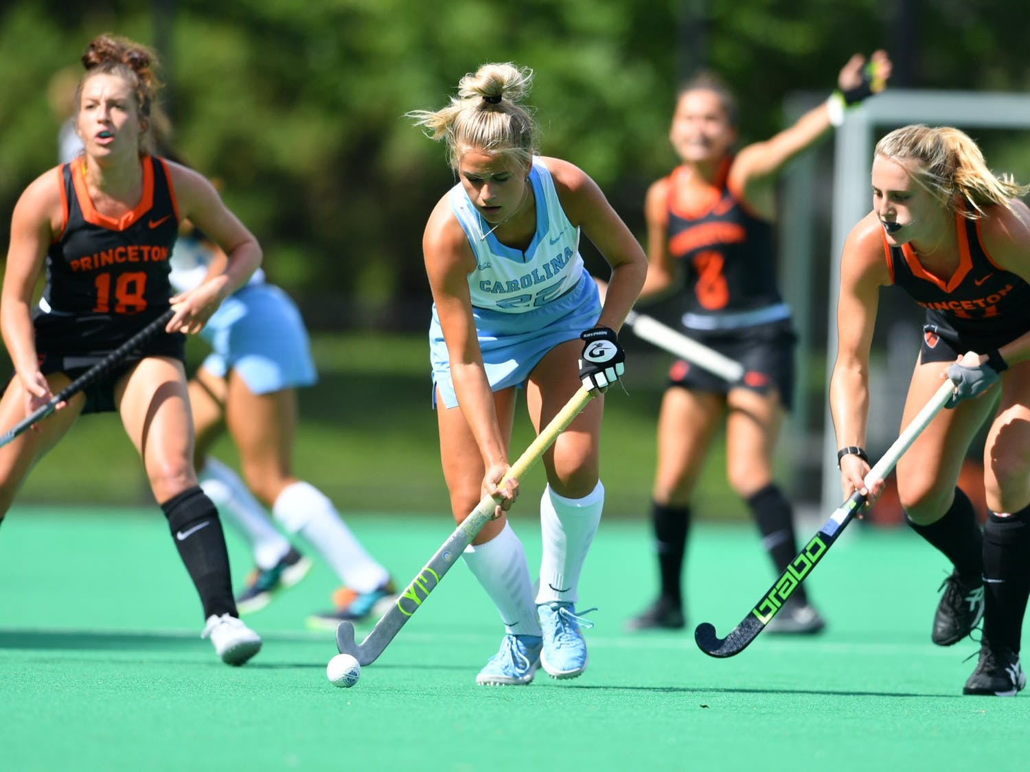 First-year midfielder Jasmina Smolenaars (22) goes for the ball in a field hockey game against Princeton on Sept. 5. Photo courtesy of Greg Carroccio/Princeton Athletics.