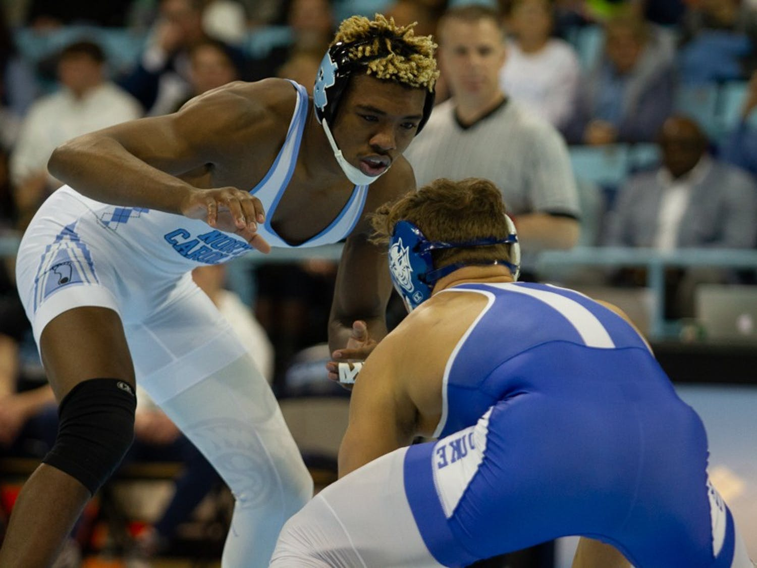 "Redshirt junior Kennedy Monday wrestles Duke redshirt sophomore Benjamin Anderson in Carmichael Arena on Friday, Jan. 31, 2020. Kennedy has been hailed as an ""anchor"" of Carolina wrestling for the 2019-2020 season."