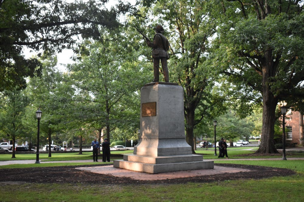<p>UNC's Confederate monument, Silent Sam, was toppled by protestors on Aug. 20.</p>