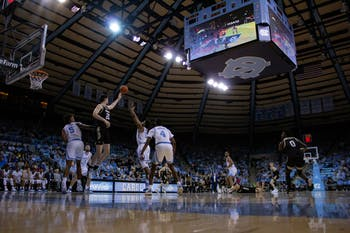 UNC and Wofford's men's basketball teams squared off during a game on Sunday, Dec. 15th, 2019 at Carmichael Arena.This is the first regular-season game the Tar Heels have played in Carmichael since 1986. UNC fell to Wofford 64-68, marking UNC's third consecutive loss.