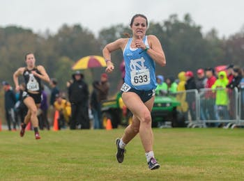 Ashley Smith sprints toward the finish line during the NCAA Southeast Regional Championships at Winthrop University in Rock Hill, SC on Friday, Nov. 9 2018.