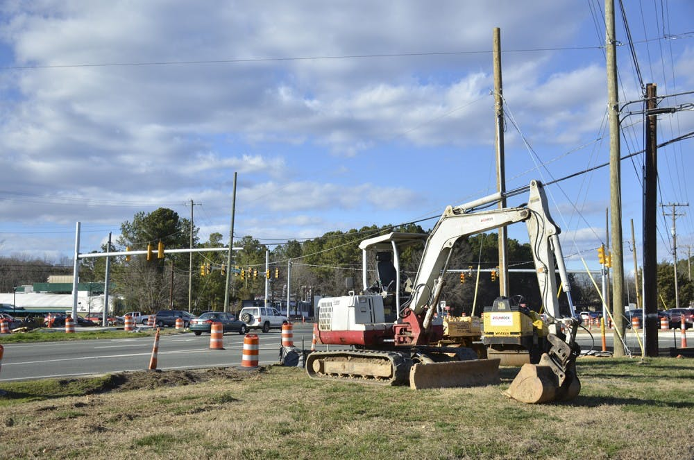 <p>Construction at the intersection of Ephesus Church Road and Fordham Boulevard has created new traffic patterns.&nbsp;</p>