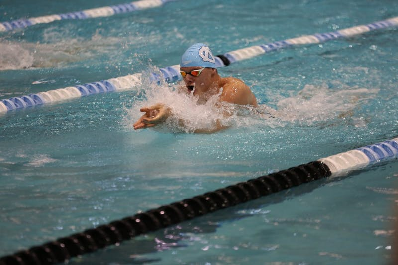 UNC's Valdas Abilksta swims in his race against Texas on Saturday afternoon in Koury Natatorium.