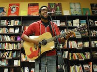The Sacrificial Poets host an Open Mic Night at Flyleaf Books. The Sacrificial Poets is a local poet group that host events, teach workshops to empower people and their voice to express themselves.