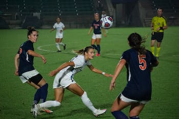 Virginia players go up against UNC in the women's soccer game at Dorrance field on Friday, Nov. 13, 2020. UNC beat Virginia 2-0 in the ACC semifinal game.