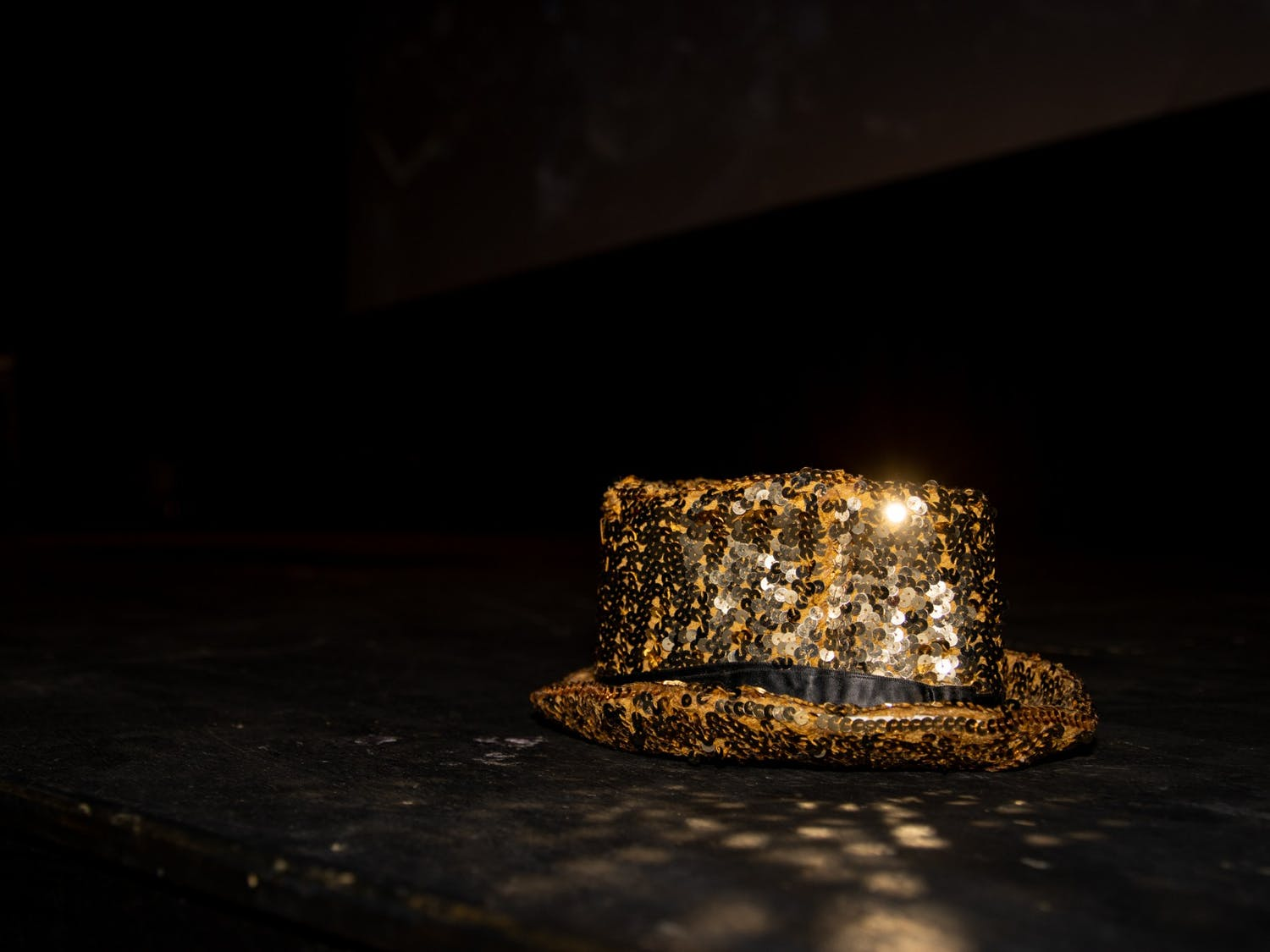 Columbia's hat shines on the stage before a technical rehearsal of the Rocky Horror Picture Show on Oct. 26 at the Varsity Theatre. The production is an annual tradition of the UNC Pauper Players.